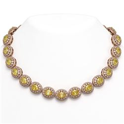 89.35 ctw Canary Citrine & Diamond Victorian Necklace 14K Rose Gold - REF-2454X5A