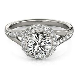 1.6 ctw Certified VS/SI Diamond Halo Ring 18k White Gold - REF-293A2N