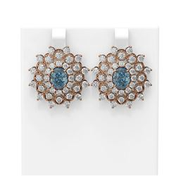 8.08 ctw Aquamarine & Diamond Earrings 18K Rose Gold - REF-336H4R