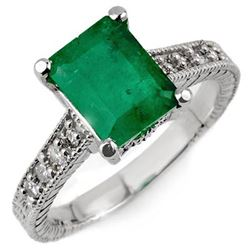2.75 ctw Emerald & Diamond Antique Ring 18k White Gold - REF-77R8K