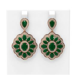 19.42 ctw Emerald & Diamond Earrings 18K Rose Gold - REF-344G2W