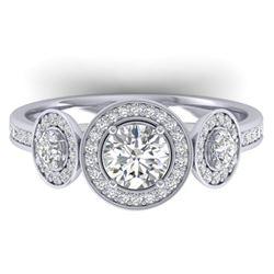 1.25 ctw VS/SI Diamond Art Deco 3 Stone Micro Ring 14k White Gold - REF-134N5F