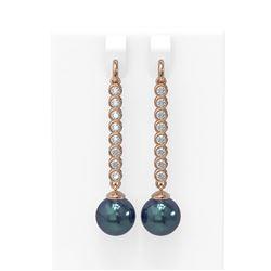 1.44 ctw Diamond & Pearl Earrings 18K Rose Gold - REF-162X9A