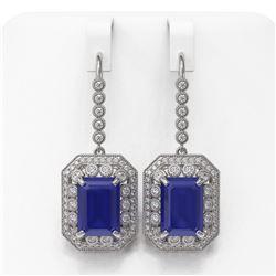 23.79 ctw Sapphire & Diamond Victorian Earrings 14K White Gold - REF-446A2N