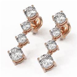 3.78 ctw Cushion Diamond Earrings 18K Rose Gold - REF-587W2H