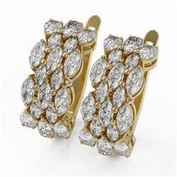 6.28 ctw Marquise Diamond Designer Earrings 18K Yellow Gold - REF-695N3F