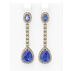 8.81 ctw Tanzanite & Diamond Earrings 18K Yellow Gold - REF-360W2H