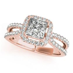 1.5 ctw Certified VS/SI Princess Diamond Halo Ring 18k Rose Gold - REF-300R2K
