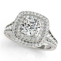 1.65 ctw Certified VS/SI Diamond Halo Ring 18k White Gold - REF-135F8M
