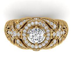 2.35 ctw Certified VS/SI Diamond Art Deco Ring 14k Rose Gold - REF-293K3Y