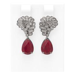 7.73 ctw Ruby & Diamond Earrings 18K White Gold - REF-178X2A