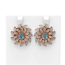 5.67 ctw Aquamarine & Diamond Earrings 18K Rose Gold - REF-447H3R