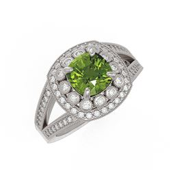 2.39 ctw Certified Tourmaline & Diamond Victorian Ring 14K White Gold - REF-106R5K