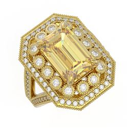 5.85 ctw Canary Citrine & Diamond Victorian Ring 14K Yellow Gold - REF-145F6M