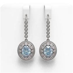 7.65 ctw Aquamarine & Diamond Victorian Earrings 14K White Gold - REF-250Y5X