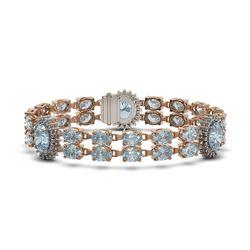 33.79 ctw Sky Topaz & Diamond Bracelet 14K Rose Gold - REF-225Y2X