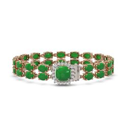 12.93 ctw Jade & Diamond Bracelet 14K Rose Gold - REF-245X5A