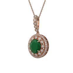 8.66 ctw Certified Emerald & Diamond Victorian Necklace 14K Rose Gold - REF-204H5R