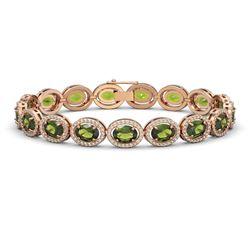 21.71 ctw Tourmaline & Diamond Micro Pave Halo Bracelet 10k Rose Gold - REF-338Y9X