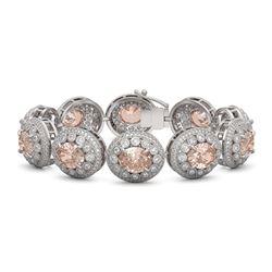 40.92 ctw Morganite & Diamond Victorian Bracelet 14K White Gold - REF-1709G3W