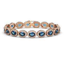24.32 ctw London Topaz & Diamond Micro Pave Halo Bracelet 10k Rose Gold - REF-290M9G