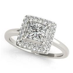 1.6 ctw Certified VS/SI Princess Diamond Halo Ring 18k White Gold - REF-330N5F