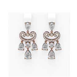 5.64 ctw Diamond Earrings 18K Rose Gold - REF-872G6W