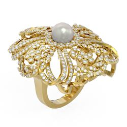 3.23 ctw Diamond & Pearl Ring 18K Yellow Gold - REF-396H2R