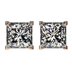 2.50 ctw VS/SI Quality Princess Diamond Stud Earrings 10k Rose Gold - REF-601H4R