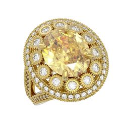 7.87 ctw Canary Citrine & Diamond Victorian Ring 14K Yellow Gold - REF-170H9R