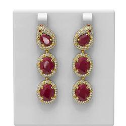 21.3 ctw Ruby & Diamond Earrings 18K Yellow Gold - REF-488M8G