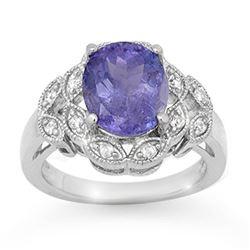 4.25 ctw Tanzanite & Diamond Ring 10k White Gold - REF-110F8M