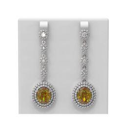 16.83 ctw Canary Citrine & Diamond Earrings 18K White Gold - REF-524H5R