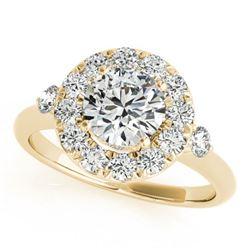 1.25 ctw Certified VS/SI Diamond Halo Ring 18k Yellow Gold - REF-166G5W