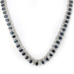 26 ctw Blue Sapphire & Diamond Necklace 18k White Gold - REF-818M2G