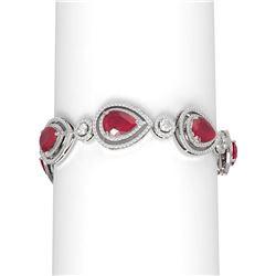 32.24 ctw Ruby & Diamond Bracelet 18K White Gold - REF-890R9K
