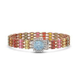 33.04 ctw Sapphire & Diamond Bracelet 14K Rose Gold - REF-340G5W