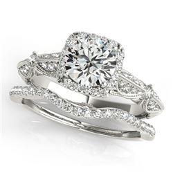 1.54 ctw Certified VS/SI Diamond 2pc Wedding Set Halo 14k White Gold - REF-320F5M