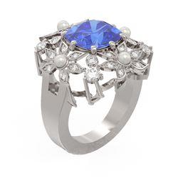 6.41 ctw Tanzanite & Diamond Ring 18K White Gold - REF-345F5M