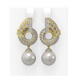 4.21 ctw Diamond & Pearl Earrings 18K Yellow Gold - REF-378R2K