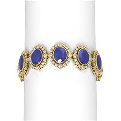 50.03 ctw Sapphire & Diamond Bracelet 18K Yellow Gold - REF-767X6A