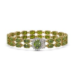 26.92 ctw Tourmaline & Diamond Bracelet 14K Yellow Gold - REF-336R4K