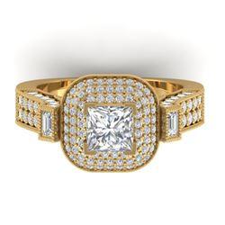 2.85 ctw Princess VS/SI Diamond Art Deco Micro Ring 14k Yellow Gold - REF-486W2H