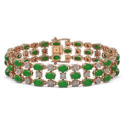25.85 ctw Jade & Diamond Bracelet 10K Rose Gold - REF-227G3W