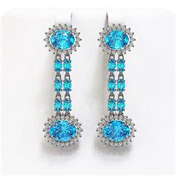 12.82 ctw Swiss Topaz & Diamond Earrings 14K White Gold - REF-176Y9X