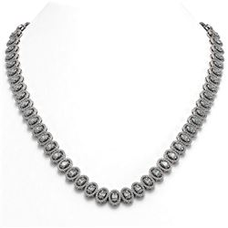 28.47 ctw Oval Cut Diamond Micro Pave Necklace 18K White Gold - REF-2389R2K