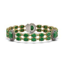 34.17 ctw Emerald & Diamond Bracelet 14K Yellow Gold - REF-276A2N