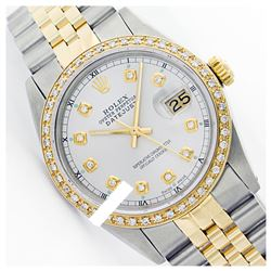Rolex Men's Two Tone 14K Gold/SS, QuickSet, Diamond Dial & Diamond Bezel - REF-557H6W