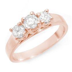 1.0 ctw Certified VS/SI Diamond 3 Stone Ring 14k Rose Gold - REF-135R6K