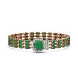 31.91 ctw Emerald & Diamond Bracelet 14K Rose Gold - REF-312A5N